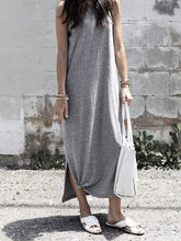 Load image into Gallery viewer, Solid Color Sleeveless Loose Maxi Dress