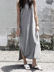 Solid Color Sleeveless Loose Maxi Dress