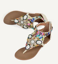 Load image into Gallery viewer, Ethnic Style Women Summer Bohemian Stone Bead Flat Sandals