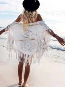 Boho Solid Color Faux Suede Shawl Asymmetric Tassel Beach Cover-up
