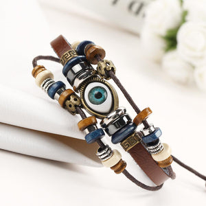 Retro Multilayer Leather Beaded Boho Bracelet Bangle Wristband