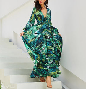 Lantern Sleeve V Collar Leaf Print Dress