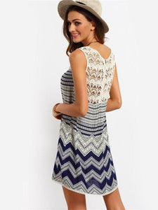 Pretty Blue Bohemia Lace Sleeveless Beach Dress Mini Dress