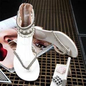 Behemian Summer Ankle Straps Fashion New Beaded Sandals Women's Shoes