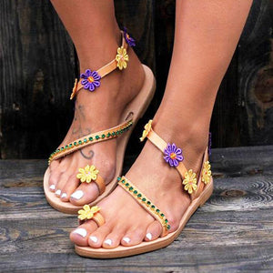 Fashion Sandals Flowers Flat Women's Shoes