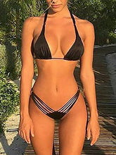 Load image into Gallery viewer, Black Split Bikini Solid Color Sexy Swimsuit