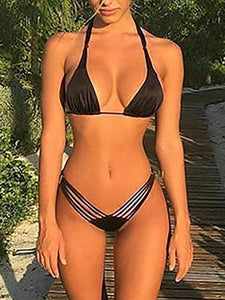 Black Split Bikini Solid Color Sexy Swimsuit