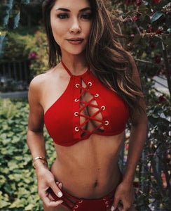 2018 Red Hollow Sexy Swimwear Bikini Sets