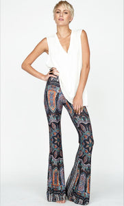 Bohemian Style Wide Leg Elastic Stretch Flare Pants