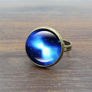 Starry Time Gemstone Adjustable Bronze Ring