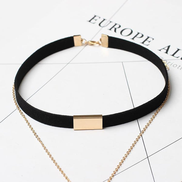 Fashion Layered Velvet Choker Necklace