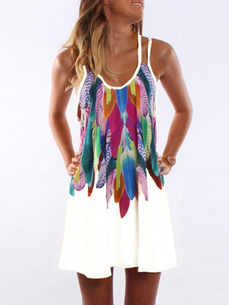 A-line Spaghetti-neck Floral Feather Mini Dress