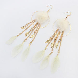 Bohemian Exaggerated Feather Shape Fringe Pierced Earrings