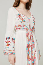Load image into Gallery viewer, 2018 Boho Embroidered Long Sleeve Loose Beach Dress