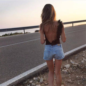 Summer Sexy V Neck Lace Stitching Backless One-piece Swimsuit Bikini