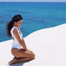 Load image into Gallery viewer, Summer Sexy V Neck Lace Stitching Backless One-piece Swimsuit Bikini