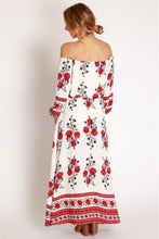 Load image into Gallery viewer, Floral Print Off Shoulder Split Beach Maxi Dress