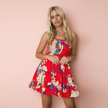 Load image into Gallery viewer, Print Off Shoulder Beach Mini Dress