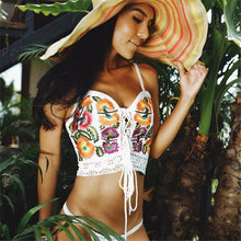 Load image into Gallery viewer, Summer Floral Embroidery Backless Bandage Beach Tops
