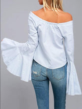 Load image into Gallery viewer, Off Shoulder Flared Sleeve Tops Blouses