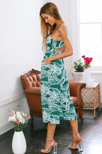 Print Spaghetti Strap Wide Leg Pants Pockets Jumpsuit