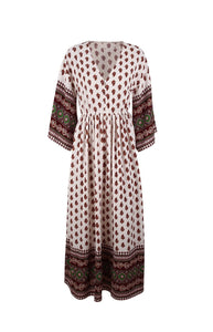 Polka Dot Long Sleeve Bohemia Maxi Dress