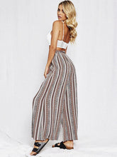 Load image into Gallery viewer, Print Stripe Belted High Waist Wide Leg Pants
