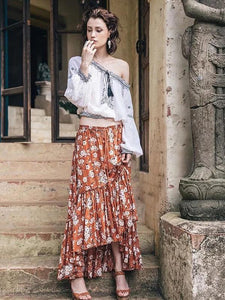 Flower Print Irregular New Skirt