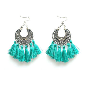 New Earrings for Xmas party beautiful round tassel bohemia earrings