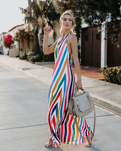 2018 New Print Halter Backless Beach Maxi Dress