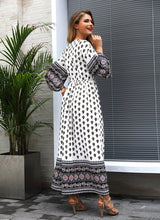 Load image into Gallery viewer, Polka Dot Long Sleeve Bohemia Maxi Dress