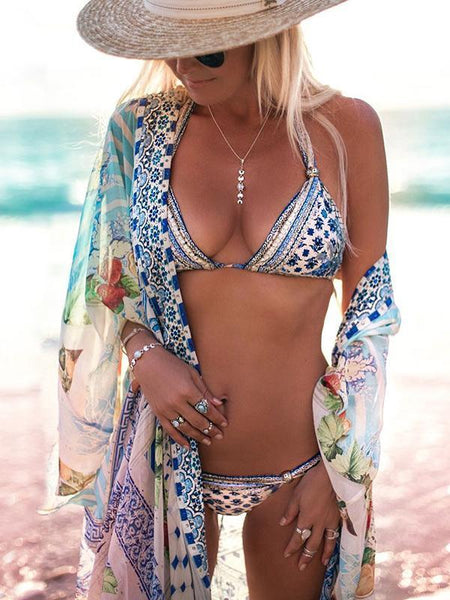 Print Long Sleeve Loose Beach Swimwear Bikini Cover Up