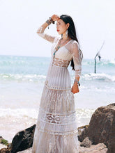 Load image into Gallery viewer, White Lace V Neck Split-joint Maxi Dress