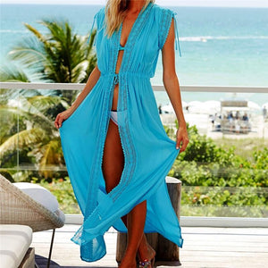 Kaftans Sarong Bathing Solid Color Beach Pareos Cover-up