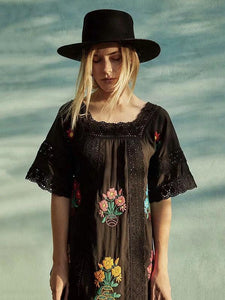 Bohemia Short Sleeve Embroidered Maxi Dress