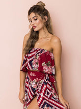 Load image into Gallery viewer, Printed Off Shoulder Tops High Waist Side Split Maxi Skirt Two Pieces Set