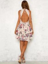 Load image into Gallery viewer, Print Spaghetti Strap Lace Splice Mini Dress