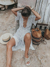 Load image into Gallery viewer, Stripe Backless Short Sleeve Beach Dress