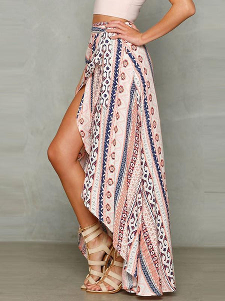 High Waist Chiffon Front Split Beach Skirt