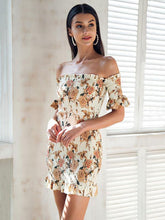 Load image into Gallery viewer, Floral Print Off Shoulder Short Sleeve Backless Bodycon Mini Dress