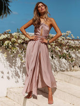 Load image into Gallery viewer, Sexy Solid Color Side Split Backless Boho Maxi Dress