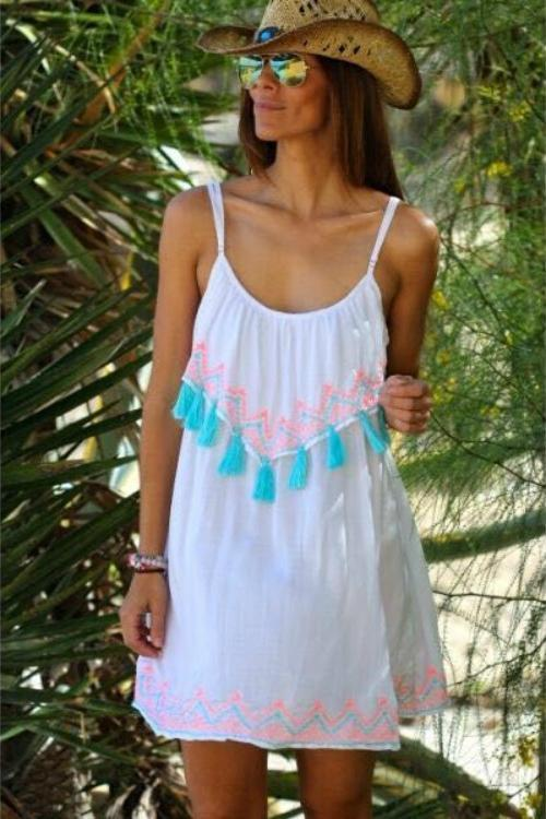 Tassel Lace Spaghetti Strap Sleeveless Beach Mini Dress