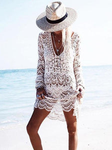 Sexy Knit Hollow Out Long Sleeve Swimwear Bikini Cover Up