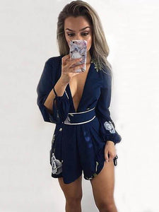 Flower Backless Deep V Neck Rompers