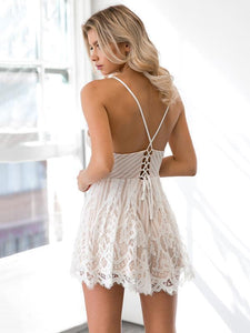 Lace Spaghetti Strap Backless V Neck Rompers
