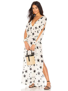 V Neck Star Print Split Swimwear Beach Bikini Cover Up