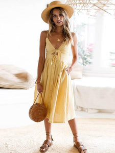 Spaghetti Strap Bowknot Solid Color Mini Dress