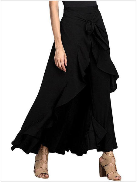 Solid Color Irregular High Waist Maxi Skirt