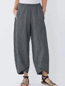 Plus Size Loose Women Yoga Trousers with Thin Strips and Wide Legs