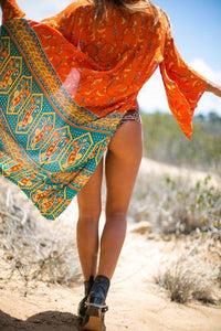 Sexy Boho Floral Printed Chiffon Beach Wear Cover Up